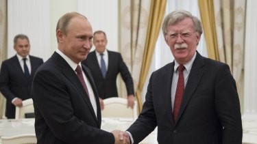 Russian President Vladimir Putin, meets US national security adviser John Bolton in Moscow on Wednesday.