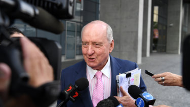 Broadcaster Alan Jones outside the Brisbane Supreme Court last month.