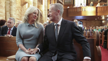 Opposition Leader Bill Shorten and wife Chloe at a church service in February to mark the commencement of Parliament.