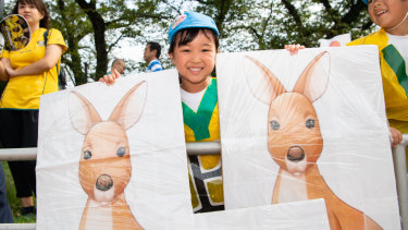 While there are have been no Wallaby sightings in Odawara, this fan brought a few along to training.