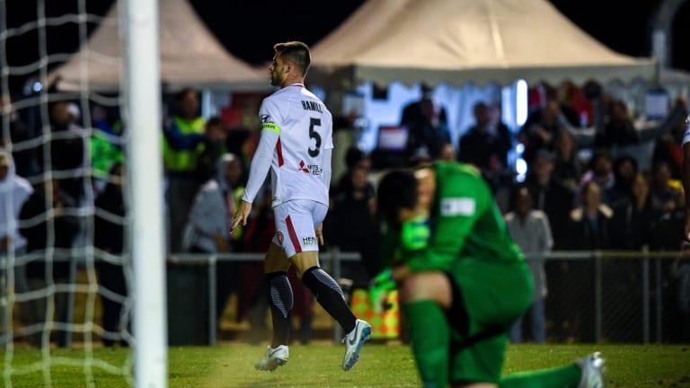First blood: Brendan Hamill celebrates after scoring against Bonnyrigg at Marconi Stadium.