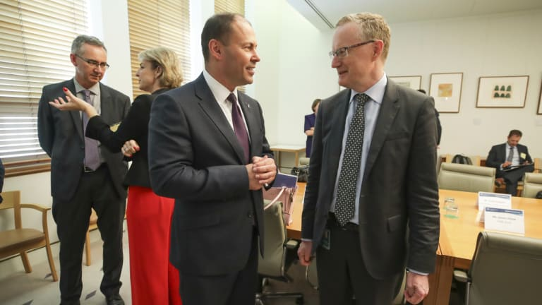Treasurer Josh Frydenberg and RBA Governor Dr Philip Lowe during a Business Growth Fund roundtable at Parliament House in Canberra on Thursday.