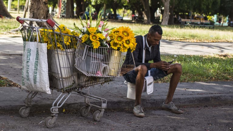 A flower vendor takes a break to surf the internet on his smartphone in Havana, Cuba, on Thursday.