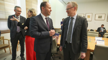 Treasurer Josh Frydenberg and RBA Governor Dr Philip Lowe during a the Business Growth Fund round table at Parliament House in Canberra in December.