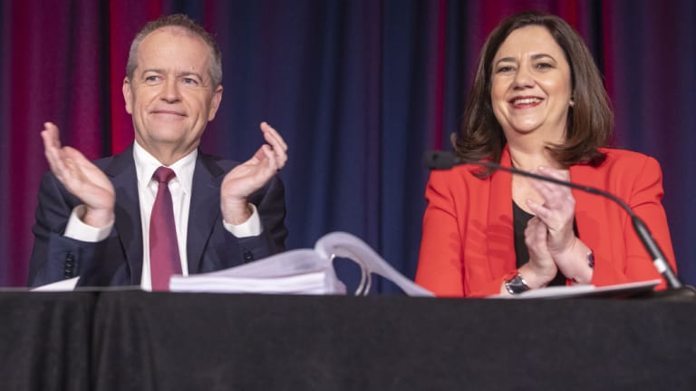 Leader of the Opposition Bill Shorten and Queensland Premier Annastacia Palaszczuk are seen during the annual Queensland Labor state conference at the Brisbane Convention and Exhibition Centre on Saturday.
