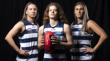 Top Cats: Geelong draftees (L-R) Sophie Van De Huevel, Nina Morrison and Rebecca Webster.