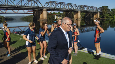 How good is that river?: Prime Minister Scott Morrison visits the Nepean Rowing Club at Penrith earlier this month.