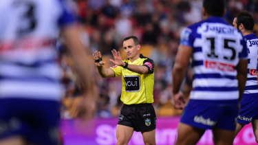 Ref justice: Gerard Sutton awards a penalty for offside in a controversial Broncos v Bulldogs clash last year.