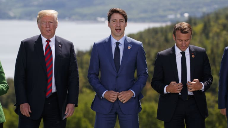 President Donald Trump, Canadian Prime Minister Justin Trudeau, and French President Emmanuel Macron at the G-7 Summit.