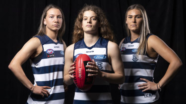 Next generation: Geelong draftees (L-R) Sophie Van De Huevel, Nina Morrison and Rebecca Webster.