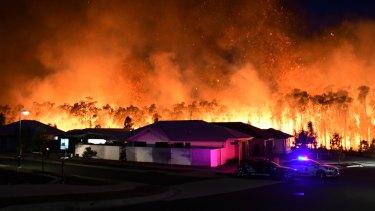 The Peregian Springs bushfire on the Sunshine Coast on Monday.