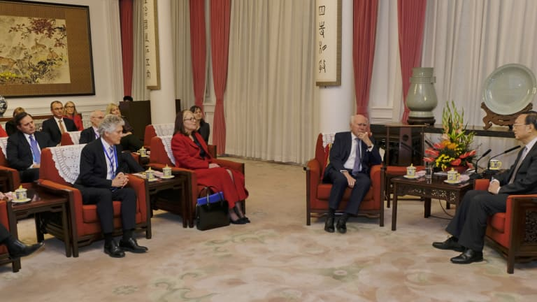 Former Australian prime minister John Howard and delegation having a meeting with Chinese State Councilor Yang Jiechi at Zhongnanhai in Beijing.