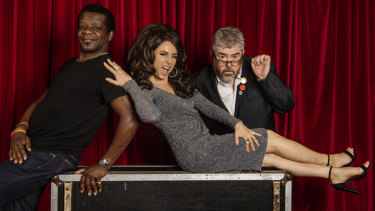 Comedians Stephen K. Amos (left) and Phill Jupitus (right) with Australian icon Effie (Mary Coustas).