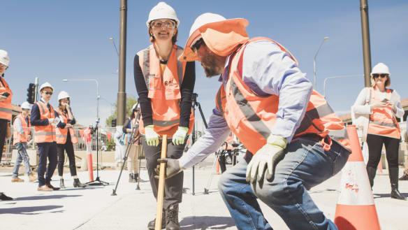 Light rail concrete pours re-done due to problems with rail gauge