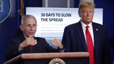 President Donald Trump listens as Dr. Anthony Fauci, director of the National Institute of Allergy and Infectious Diseases, speaks about the coronavirus in the James Brady Press Briefing Room of the White House, Tuesday, March 31, 2020, in Washington. (AP Photo/Alex Brandon)
