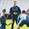 Steve Smith, centre, attends a nets session at Headingley in Leeds.