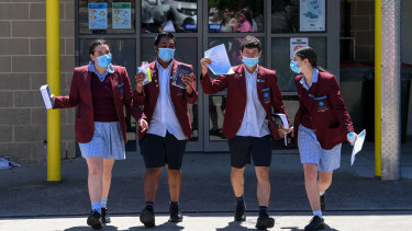 Year 12 students at Marymede Catholic College in South Morang celebrate completing their VCE English exam.  Left to right: Claudia Pironi, Nuwin Fernando, Jake Mitkovski and Jarni Brancaleone.