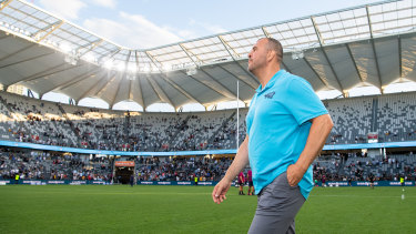 Michael Cheika on the turf of BankWest Stadium.
