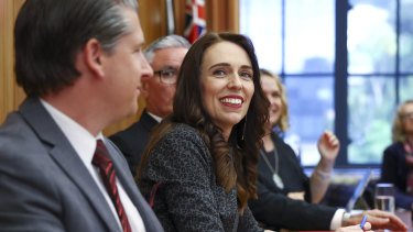 Jacinda Ardern speaks to her MPs at Parliament in Wellington.