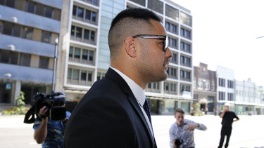 Jarryd Hayne arrives at court on Thursday.