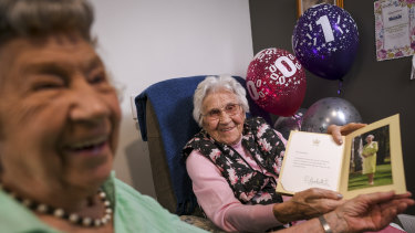 Happy 110th birthday: Agnes 'Nessie' Kluckhenn, right, and her 'baby' sister Williamina, 95.