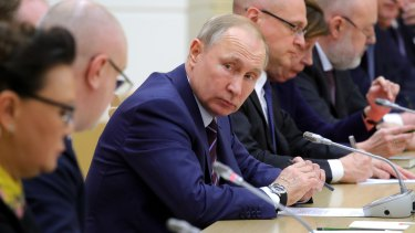 Russian President Vladimir Putin attends a meeting in January.