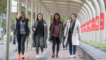 Sheryl Thai (second from left), founder of the League of Extraordinary Women, leads a Mentor Walk.