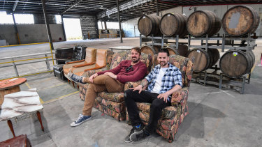 Moon Dog owners Josh Uljans and Karl van Buuren at the site of their new brewery in Preston.