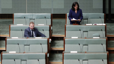 Just one colleague - Craig Laundy - stayed to listen as Julia Banks announced her decision to quit the Liberal Party on Tuesday.