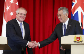 PM Scott Morrison with his Singaporean counterpart Lee Hsien Loong in Singapore in 2019.