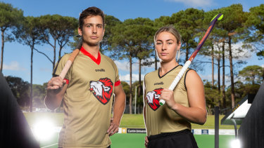New look: Tom Craig and Mariah Williams will be part of the NSW Pride in the new Hockey One league.