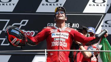 Italy's Danilo Petrucci celebrates his Italian MotoGP win.