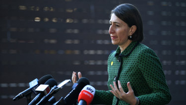 NSW Premier Gladys Berejiklian speaks to the media during a press conference in Sydney on Thursday morning.