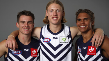 Fremantles first-round recruits Caleb Serong, Hayden Young and Liam Henry have impressed skipper Nat Fyfe.