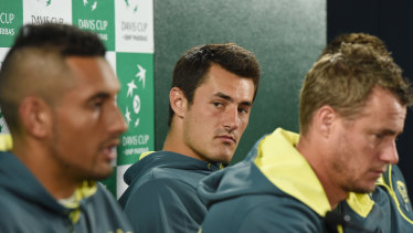 Nick Kyrgios, left, Bernard Tomic and Lleyton Hewitt in 2016.