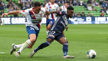 In the groove: Midfield dynamo Elvis Kamsoba takes control for Melbourne Victory.