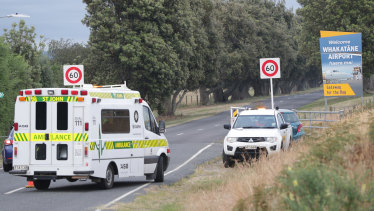A St John Ambulance arrives at Whakatane Airport during a recovery operation to retrieve the remaining bodies.