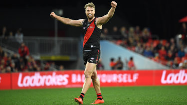 Bomber Jake Stringer celebrates a goal during his influential match against Gold Coast on Sunday.