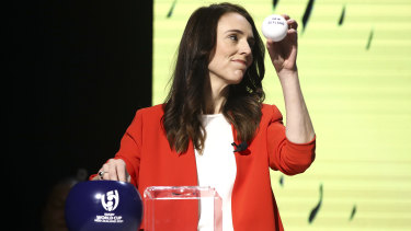 New Zealand Prime Minister Jacinda Ardern draws the Black Ferns to face Australia at next year's Women's Rugby World Cup to be held across the Tasman.