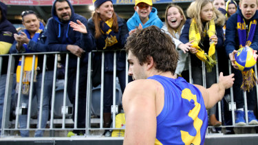 Andrew Gaff leaves the field after the derby