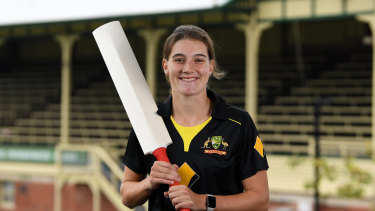 Annabel Sutherland at the naming the Australian squad for the Women's T20 World Cup.