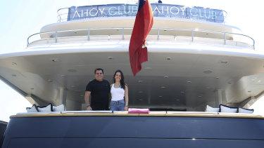 Ahoy Club director Ian Malouf and head of charter Ellie Malouf on board luxury super-yacht MV Mischief in Sydney.