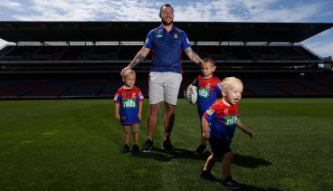 King of the kids: Even when the Knights unveiled David Klemmer as their new signing, sons Jackson (left), Cooper (right) and DJ (running off) stole the show.
