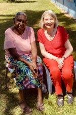 Dr Miriam-Rose Ungunmerr-Baumann (left) and writer Stephanie Dowrick atNauiyu Nambiyu (Daly River) in the Northern Territory.