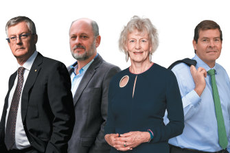 Under fire (from left): Martin Parkinson, Tim Flannery, Jillian Broadbent and Oliver Yates.