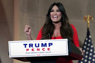 Kimberly Guilfoyle speaks as she tapes her speech for the first day of the Republican National Convention from the Andrew W. Mellon Auditorium in Washington.