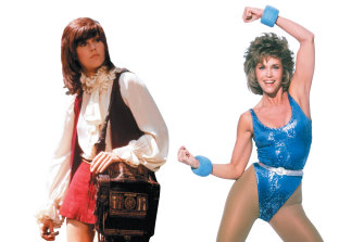 As callgirl Bree Daniels in Klute in 1971, left, with the much-imitated haircut; and right, the '80s aerobics queen.