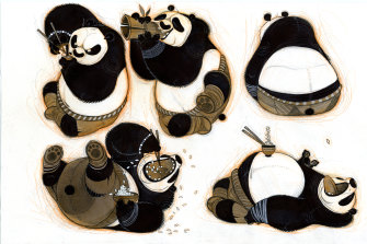 Working drawings for Kung Fu Panda (2008) by artist Nicolas Marlet.