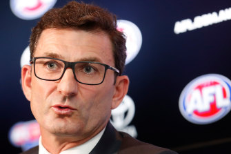 AFL executive Travis Auld at the fixture announcement on Monday.