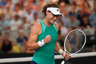 Sam Stosur started her home campaign with a win over Angelique Kerber in the Brisbane International.